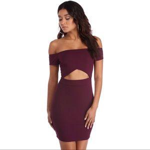 Plum Windsor off the shoulder cutout mini dress